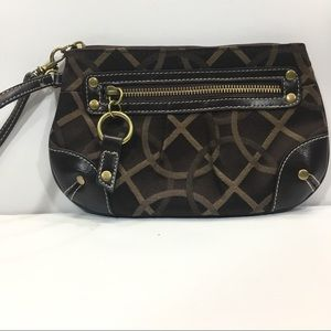 Handbags - Fabric with Faux Leather Wristlet